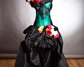 Private listing for Megan Green and black lace dress with straps bustled train Trumpet skirting and tulle feather cape
