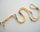 Cream Eyeglass Necklace Beaded Lanyard with Emerald Green Swarovski Crystals