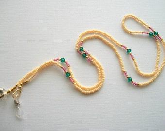 Cream Eyeglass Necklace Beaded Lanyard with Emerald Green Swarovski Crystals
