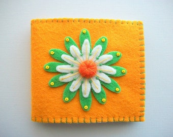 Needle Book Yellow Felt with Large Embroidered Flower Handsewn