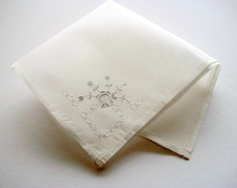 Vintage Batiste Handkerchief  Embroidered Unused