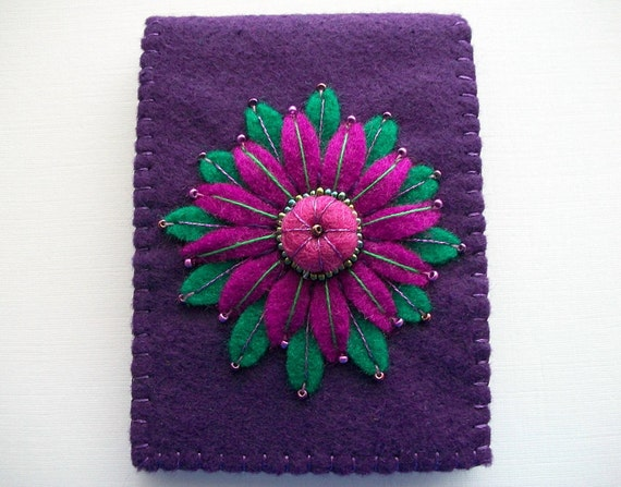 Purple Needle Book with Large Felt Flower and Raised Centre Handsewn