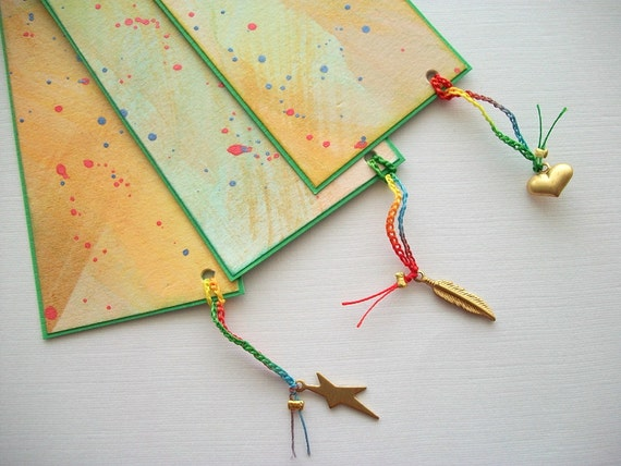 Hand Painted Bookmarks Watercolor Bookmarks with Brass Charms