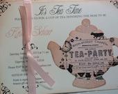 Baby Shower Tea Party Invitation - Vintage Elegant Set of 10