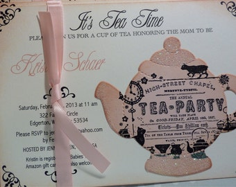 Baby Shower Tea Party Invitation - Vintage Elegant Set of 10