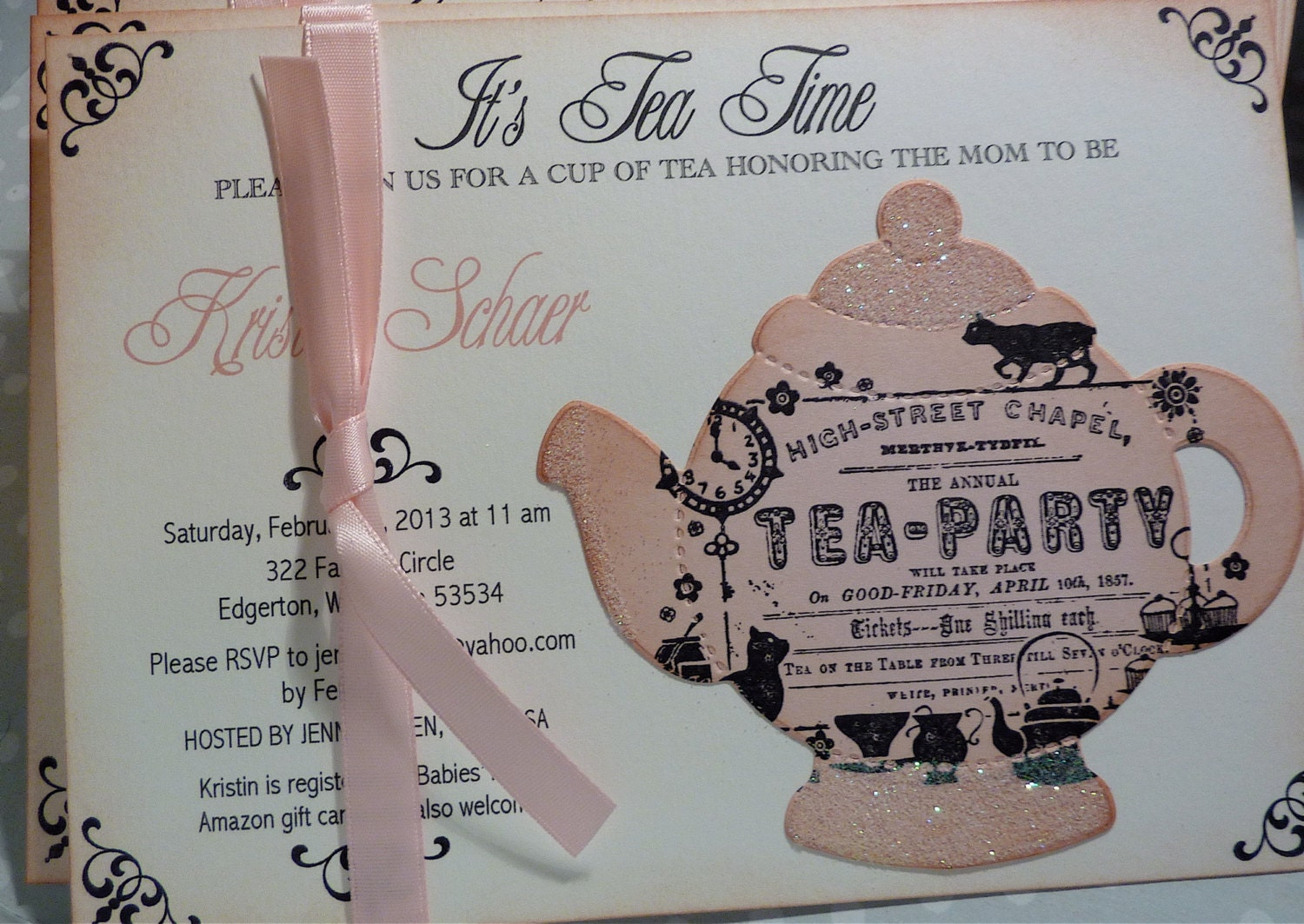 baby shower tea party invitation vintage elegant set of 10
