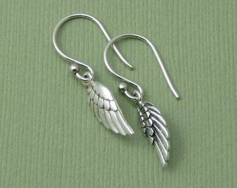 Feather Earrings - Sterling Silver Feather Earrings - Silver Dangle Earrings, Trendy Earrings, Gift for Girlfriend, Gift for Mom