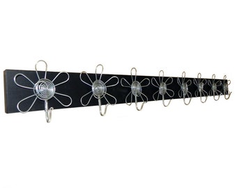 Eight Silver Flowers on the Black Board Wall Jewelry Organizer,Holder,Display