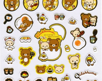 San-X Rilakkuma Bear Sticker Sheet - Egg Theme - A