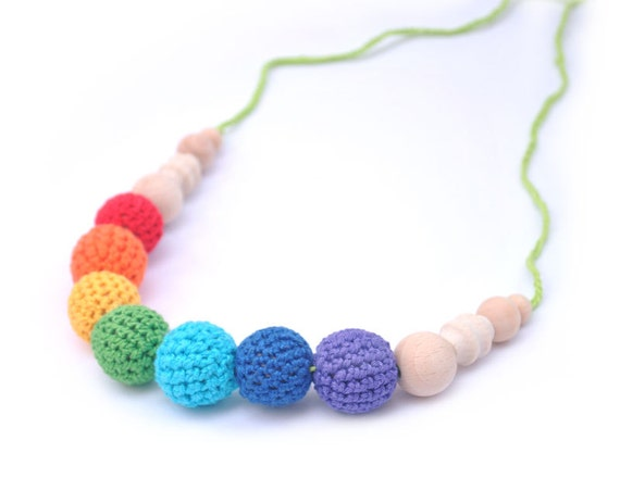 Rainbow Breastfeeding mom necklace and teething toy for baby  - Babywearing Mother. ecofriendly cotton Crochet  pink purple mint