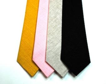 Linen Neckties Skinny Necktie Blush Neckties Blush Linen Neckties Linen Ties Skinny Linen Ties Black Neckties Mens Neckties Wedding Neckties