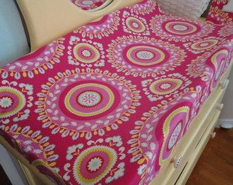 Ready to Ship- Contoured Changing Pad Cover in Kumari Garden Fabric