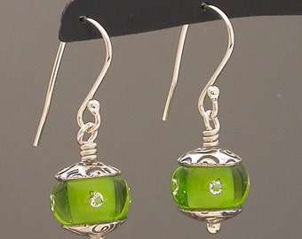 Earrings, Namaste in Vibrant Green, handmade lampwork glass beads with sterling silver and silver metal clay pmc caps, Made to Order