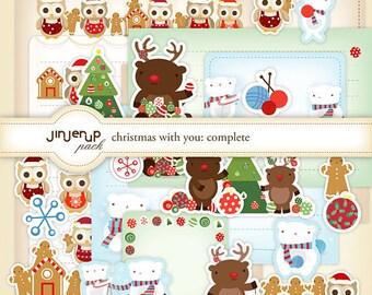 Christmas with you Complete Stationery : Owl , Reindeer & Polar Bear Printable PDF