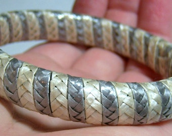 vintage white and gray or silver tone straw wrap bracelet bangle