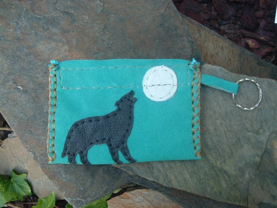 Leather keychain Bag with a Wolf Howling at the Moon and Turquoise Nuggets
