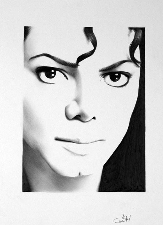 Items similar to Michael Jackson Portrait Pencil Drawing ...  Items similar t...