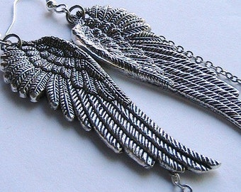 Large Silver Angel Wings Earrings - Detailed Pressed Angelic Wings Charm Dangle Earrings, Gothic, Angle, Wings, Dangle