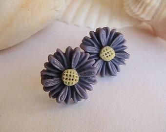 Purple Daisy Earrings, Mauve Flower Earrings, Lilac Earrings, Mums, Flowers, Daisies