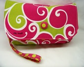 Diaper Clutch Set - Diaper Wristlet in Raspberry Surf - Matching Reversible Changing Cloth Included - Made To Order Item