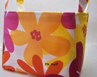 PK Fabric Basket in Tropical Island in Tangerine - Ready To Ship - Washable - Reversible