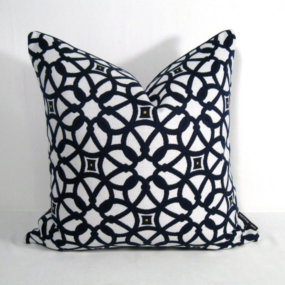 NAVY Blue & White Outdoor Pillow Cover Modern by Mazizmuse