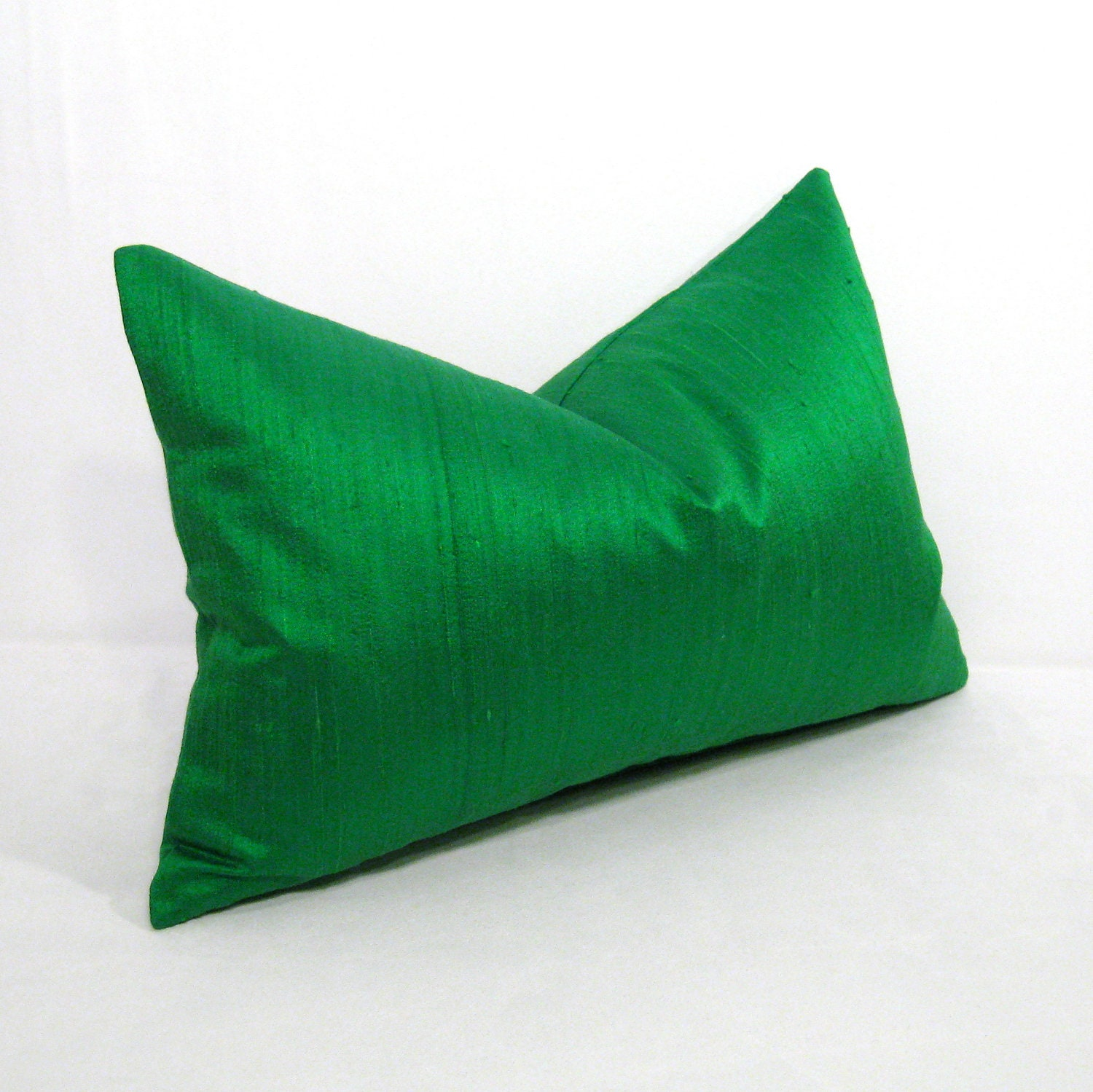 Green Silk Throw Pillow : SALE Green Silk Pillow Cover Emerald Decorative Cushion