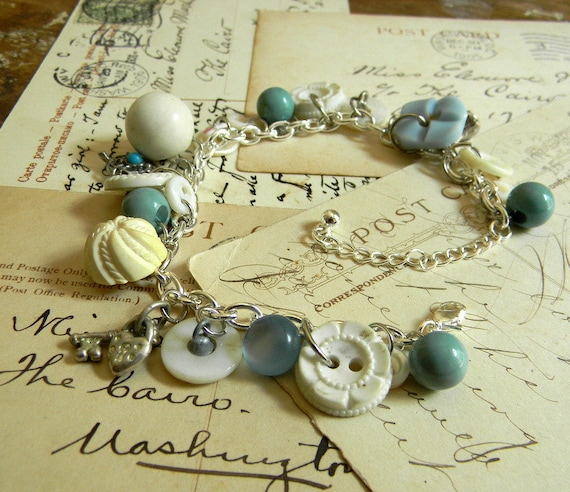 Vintage Button Charm Bracelet, Blue and White, OOAK Bracelet FREE Shipping