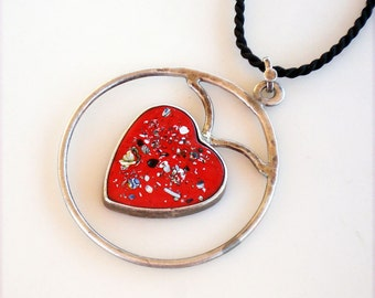 Vintage Sterling SIlver Floating Enameled Red Heart Pendant