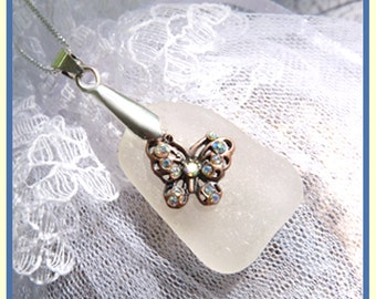Scotland Shores - Sea Glass -  Copper Butterfly - Sterling Silver - Necklace  C 7286