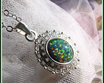 Fire Opal - Sterling Silver - Necklace  DC 8235