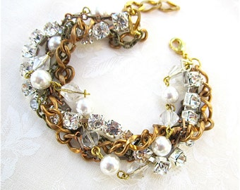 Rhinestone Pearl & Gold Bracelet for Vintage Wedding Bridesmaid Bracelet - Triple Decker Dream Bracelet