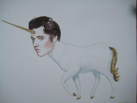 Elvis as a sad unicorn