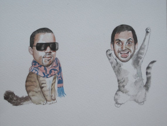 Aziz Ansari and Kanye West as best friend cats