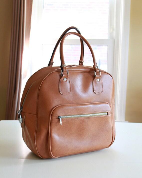 Modern Retro Brown Vinyl Bag - Carry On Luggage