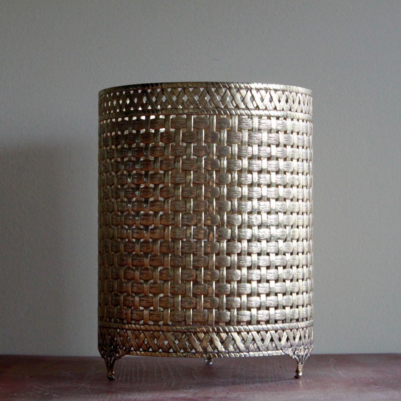 Vintage Decorative Brass Trash Can Holder Golden Metal Waste