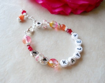 Bracelet Big Sister Name Personalized Birthday Gift Pink and Orange B083