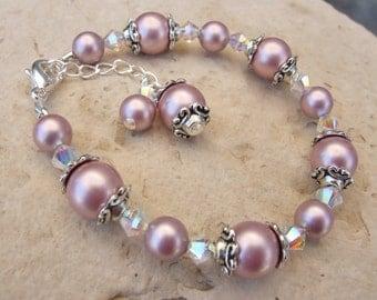 Swarovski Pearl and Crystal Bracelet in Antique Silver B150