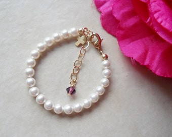 Baby Girl Child Boutique Simple Pearl Bracelet with Cross in Gold Fill B209