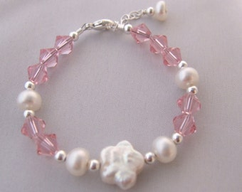 Freshwater Pearl Flower and Crystals Sterling Silver Bracelet B204