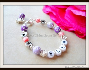 Pink and Purple Personalized Bracelet B081
