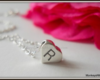 Sterling Heart Initial Necklace N012
