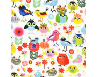 TT Cute Multi Colored Birds and Owls Fabric With Flowers Daisy on White