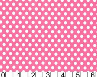 Michael Miller Fabric Polka Dot KISS 1/4 quarter inch White Dots on Blossom Hot Pink