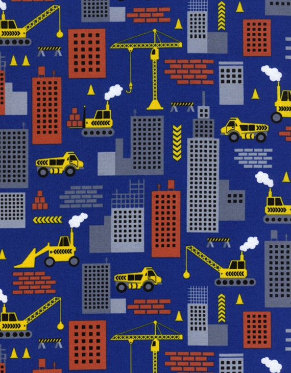 Construction Cranes Dump Trucks Building Downtown Work TT Fabric on Navy Blue