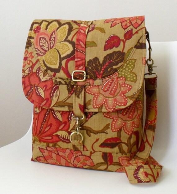 Convertible Backpack Messenger Bag LONDoN in RASPBERRY FLOWER -- SALE--
