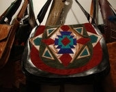 leather aztec design bag