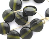 Lampwork glass beads: Set of dark green olive oil bottle lentil beads SRA P97