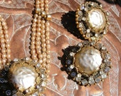 REDUCED Vintage Rare Sandor Necklace & Earrings Mother of Pearl Cabechon Rhinestones