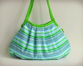 CLEARANCE SALE! Shoulder Bag - Granny Style in Lime Zest Stripes - Zipper Closure